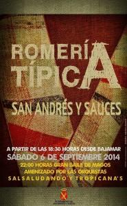 Cartel Romería Típica San Andrés y Sauces Septiembre2014