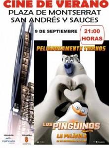 """Cine de Verano. Plaza de Montserrat. 9 de Septiembre. 21:00h """"Los Pingüinos de Madagascar"""""""