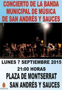 7 de septiembre. 21:00h. Concierto Banda Municipal de Música de San Andrés y Sauces.