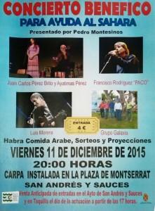 Concierto Benéfico para Ayuda al Sáhara. 11 de Diciembre 2015. Carpa Plaza de Montserrat.