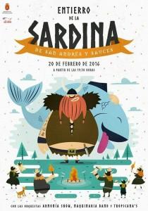 """Entierro de la Sardina de San Andrés y Sauces 2016 """"La Loca, Divertida y Gran Sardina Vikinga'."""