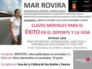 """18 abril 2015. Mar Rovira. """"Claves mentales para el éxito en el deporte y en la vida"""""""