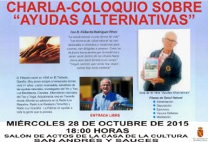 Charla Coloquio sobre Ayudas Alternativas, impartida por Filiberto Rodríguez Pérez, Miércoles 28 de Octubre a las 18 Horas