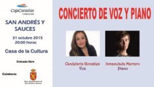Concierto de Voz y Piano en el Salón de Actos Casa de La Cultura, Sábado 31 de Octubre a las 20 Horas.