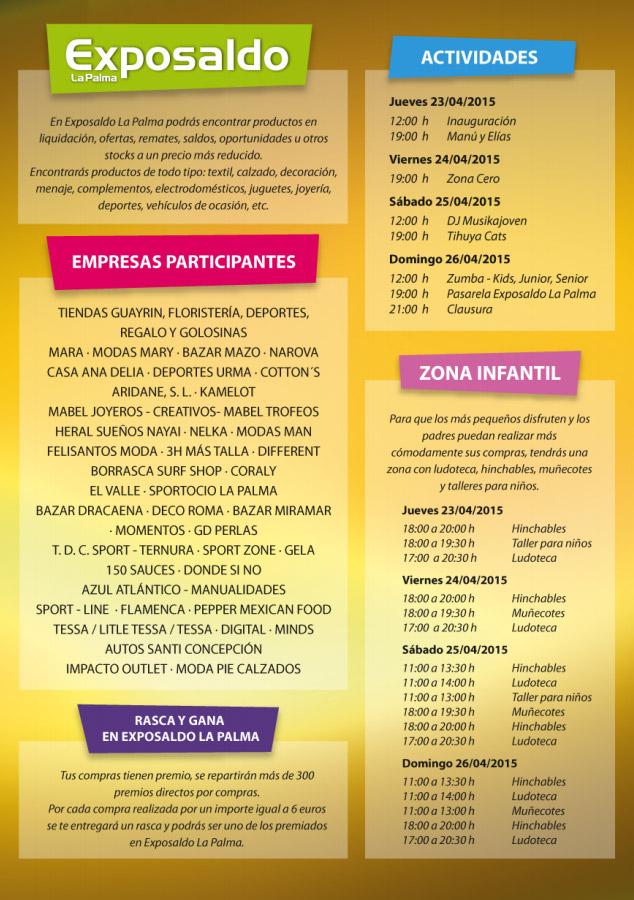 Programa Exposaldo La Palma 2015,  Del 23 al 26 de abril.  Plaza Juan Pablo II. Los Llanos de Aridane.