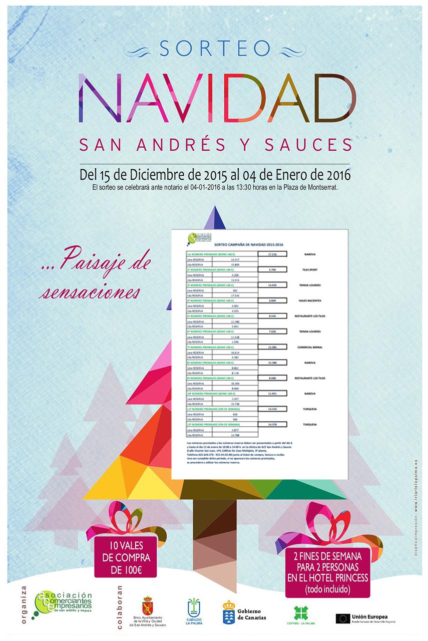 Números Premiados Sorteo Navidad 2015-2016 San Andrés y Sauces