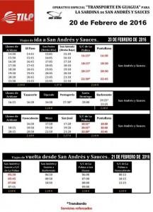 Horarios de las guaguas para el Entierro de La Sardina de San Andrés y Sauces. Operativo especial. #enlasardinanosvemos